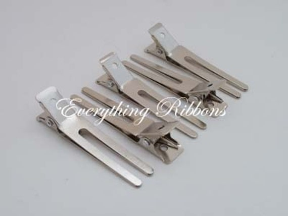 100 Double Prong Alligator Hair Pinch Clips - 1 3/4 inches (45mm) for Clippies, Hair Bows and Korkers - SEE COUPON