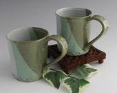 Stoneware Coffee Mug - Jade Green and Shiny White