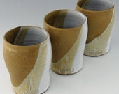 Rustic Stoneware Tumbler in Cashew Tan and Shiny White