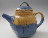 Teapot - Faceted Stoneware Tea Pot, in Cornflower Blue & Cashew Tan