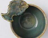 Celadon Stoneware Bowl with Fish Handle