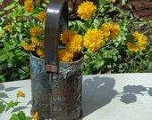 Woodland Wildflower Basket Vase in Amber and Blue