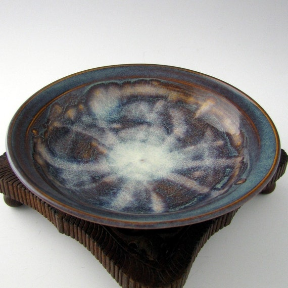 Small Stoneware Dessert Bowl - Amber and Blue