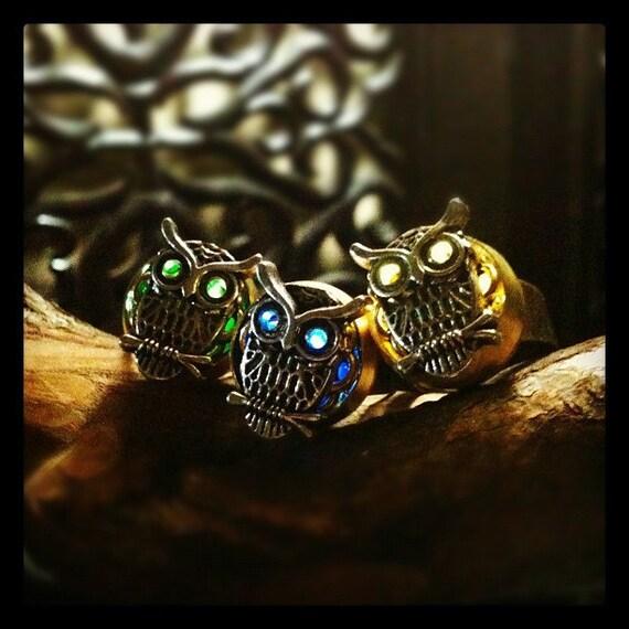 Silver Steam Punk Owl Night Light Ring - Adjustable