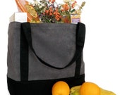 Pseudo Suede-Charcoal Shopping Bag