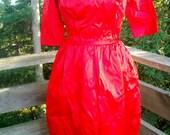 Harry Keiser Red Satin Party Dress Designer ala 1960s sz small 34 35  bust 28 waist