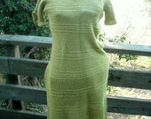 Hand Knit Dress in Lime Lurex Yarn a sweet lil Number Late 50s Early 60sz small to medium bust 32 34