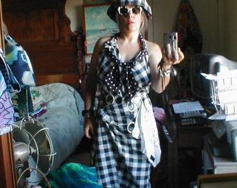 Vintage Black White Gingham LaurieLeeC Summer Ensemble Hat Sunglasses Belt Earrings Orig Dress Hanky Pin