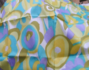 Mod Acetate Fabric Cute 60s Floral just Shy of One Yard Great for Lining Material
