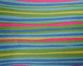 Vintage Polyester CREPE stripes 60s Colors Dress Blouse Weight 3-1/2 YARDS long
