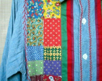 1960s Hand Embroidered Chambray Shirt unique and one of a kind