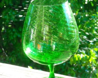 Hand Blown vintage Green glass Goblet Style Vase Swirl Pattern Gorgeous Green Happy Happy