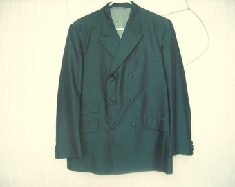 Mod Hong Kong Lurex Metallic Green and Black Sport Coat Custom Tailored Dubble Breasted Wonder sz 40