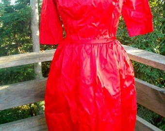 Harry Keiser Red Satin Party Dress Designer ala 1960s sz small 34 35  bust 28 waist