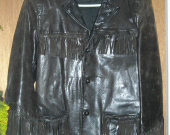 1940s Black Leather Jacket Cowboy Dude Arm hemmed for lady wearer As is as found but Wonderful sz 42 chest bust.