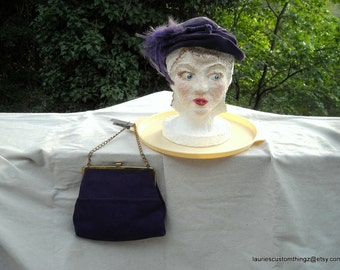 Purple Velvet Hat with feathers and a Purple Suede Purse Two Fer Very Cute Hat might need new Feathers