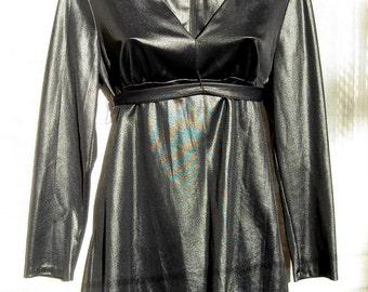 ESTIVO 1960s Wet Look Pant Suit Black Stretch Knit Empire Waist Classic Tunic Top sz 7/8