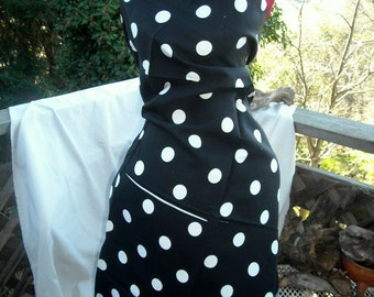Vintage Black and White Large Polka Dot Fabric Rayon Cotton Blend or Cotton Linen has print Flaw Work Around