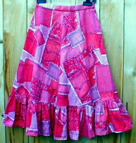 Vintage homemade Skirt cotton Denim with Levi Pockets Print CUTE and Western Rockabilly