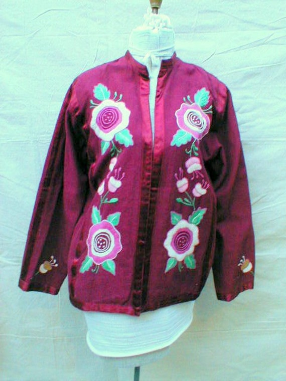 VTG Mexican Hand Ebroidered Cotton Jacket 70s Wine and Roses sweet lil Jacket