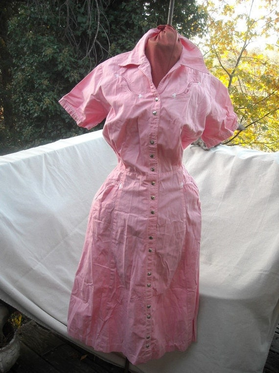Reserved for Amanda   Craftwear Pink Cotton Cowgirl Dress bust 34 36 sz 9  10 Very Cute in Super Condition 50s Classic