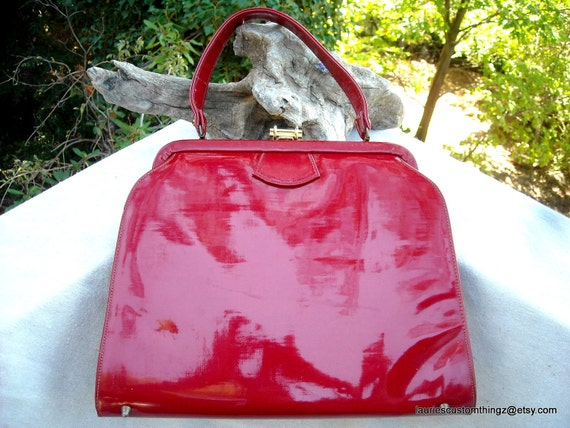 Bobbie Jerome Red Patent Leather Handbag Kelly Bag Purse Large and Special