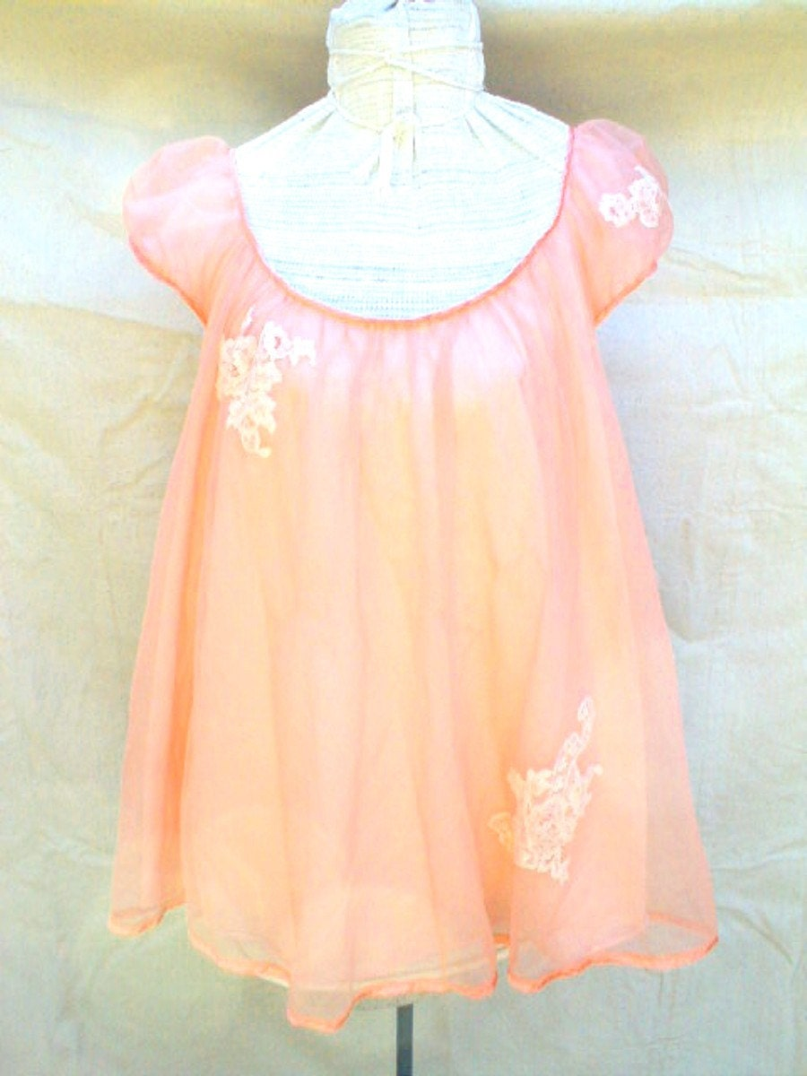 Reserved For Lara Peach Baby Doll Nighty Nightie Top Only No