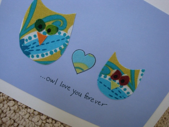 Owl Love You Forever Card - blue - valentine - anniversary - wedding