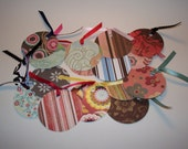 Circle Tags with Floral, Striped and Geometric Designs PIF