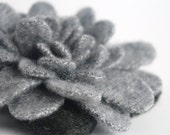 Cashmere Granite Gray Camellia - Recycled Wool Flower Pin