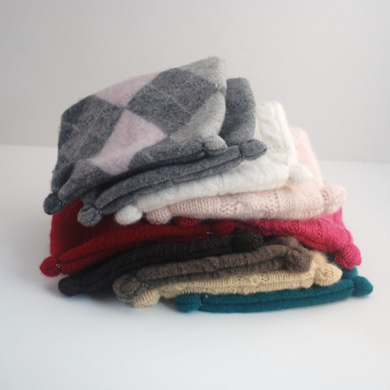 Wholesale Baby Hat - Set of 10 Recycled Cashmere Hats