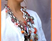 mix of pinks and oranges crazy busy necklace