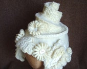 Wedding Cake  White Bridal Headpiece Hat