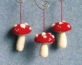 Three Christmas Ornaments Felt Mushrooms Red And Cream Wool Upcycled