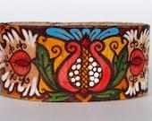 Tribal Henna Leather Cuff Bracelet