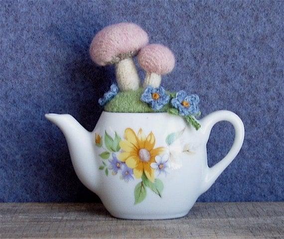 Pin Cushion Little Pink Mushroom Teapot Garden Wool Felt