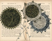 Altered book page  print - Strange Flowers Series