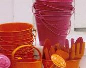Hot Beach Buckets - Bright Hot Pink and Orange Sandbox Pails and Garden Tools - Original Colour Photograph