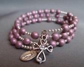 Full 5-Decade Rosary Bracelet w/ Mauve Satin glass