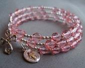 Full 5 Decade Rosary Bracelet w/ Pink FirePolished Glass (October)