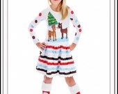 Christmas Rudolph Reindeer Santa Custom Boutique Ruffle Dress