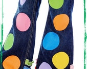 Custom Boutique Pastel Rainbow Polka Dot Hand Painted Jeans