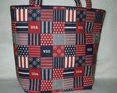 Patriotic Americana USA Boutique Purse Tote Diaper Bag Purse