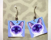 Siamese Cat Earrings - Laminated Paper with Surgical Steel French Hooks - Ranlett