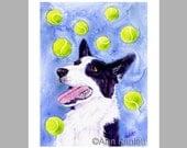 Border Collie Dog and Tennis Balls Art - 5 Blank Note Cards With White Envelopes - Ranlett