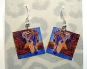 Brindle Greyhound Earrings - Laminated Paper with Surgical Steel Hooks - Ranlett