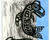 Totem Pole Alaskan Whale and Raven - Original Ink and Color Pencil ACEO Drawing - Ranlett