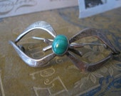 Vintage Mexican modern Pin 50s Sterling silver Taxco Mexico Gift Under 20 bow pin malachite Brooch