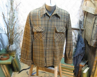 Vintage Plaid Wool Shirt 60s Brown plaid Shirt flap pockets 60s loop button shirt Washable Wool coffee brown plaid shirt camel tan shirt M L