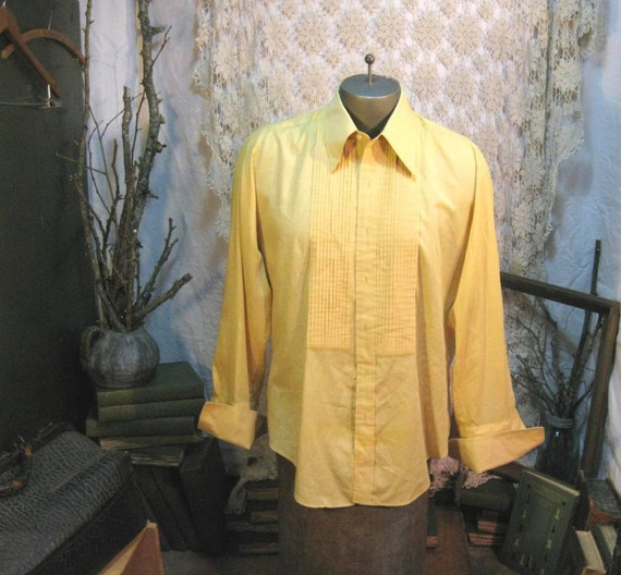 Vintage Tux Prom Shirt Tucked Mustard Yellow Gold 60s Tuxedo French Cuffs L